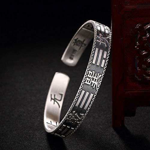 Bracelet En Argent Femme 925,Style Ethnique Original S999 Bracelet Argent Pleine D'Argent Et D'Argent Sterling Silver Bracelets Réglables Sauvages Rétro Homme Et Femme De Style Chinois Bracelet Vêt