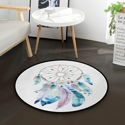 Mnsruu Tapis rond bohème motif attrape-rêves aquarelle pour salon, chambre à coucher, 92 cm de diamètre