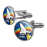 GRAPHICS & MORE NASA Logo Over Space Shuttle with Rainbow Round Cufflink Set Silver Color