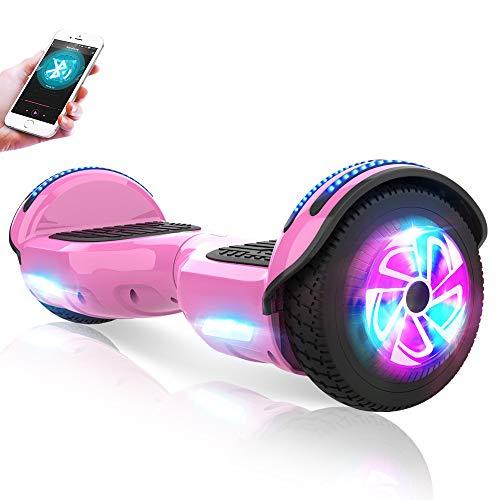 M MEGAWHEELS Hoverboard Autobilanciato Scooter Elettrico, 6,5 Pollici Overboard con Bluetooth e Lampeggiante LED,per Adulti e Bambini,Giocattolo e Regalo,Rosa