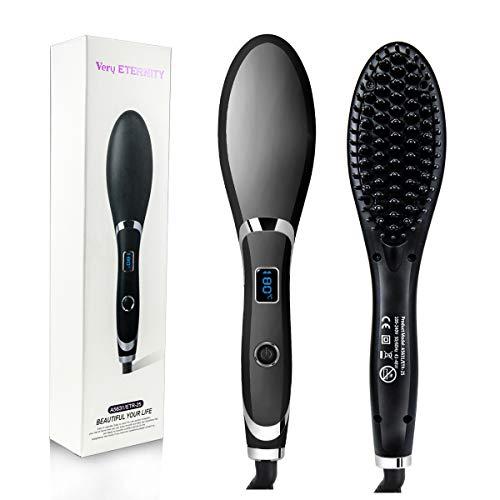 Hair Straightener Brush for Women by Veru ETERNITY, Fast Ionic Straightening Brush with Auto Temperature Lock & Auto-Off Function, Five-speed Adjustment Heating Temperature, Black