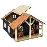 Van Manen  610167 - Kids Globe Farming Pferdestall Holz, Maßstab 1:24 - mit 2 Boxen, Werkstatt, Dach und Türen beweglich