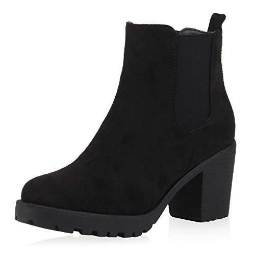 SCARPE VITA Damen Stiefeletten Blockabsatz Chelsea Boots Profilsohle 164144 Schwarz Velours 37