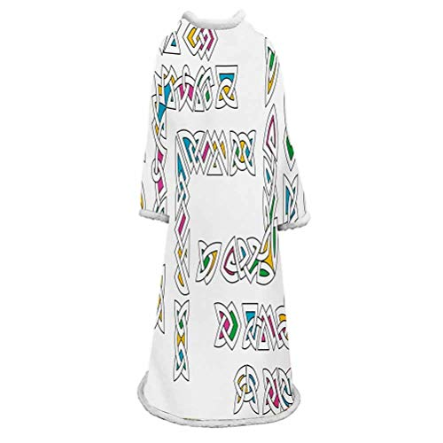Irish Sherpa Wearable Blanket with Sleeves Arms,Celtic Ornament Patterns Set Colorful Vibrant Entangled Gaelic Ancient Borders Super Soft Plush Wearable Throw,Multicolor,for Lounge Chair
