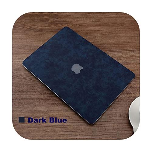 Funda de piel sintética para MacBook Pro Retina Air M1 Chip 13 15 pulgadas cubierta A2179 A2337 A2251 A2289 A2338 portátil Shell piel azul oscuro 13 Pro A1706 A1708