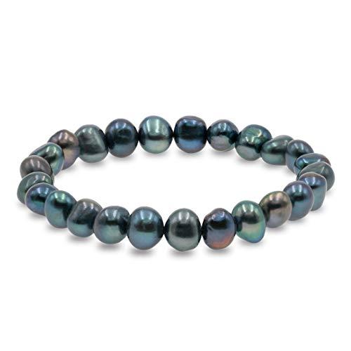 Pulsera de Mujer de Perlas Cultivadas de Agua Dulce Blancas y de Colores de 8-9 mm Barrocas Secret & You - 22 perlas en total - Pulsera elástica de 18 cm.