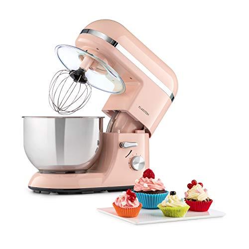 Klarstein Bella Elegance Küchenmaschine Rührmaschine, 1300W/1,7PS in 6 Leistungsstufen mit Pulsfunktion, Planetarisches Rührsystem, 5l Edelstahlschüssel, 3-tlg. Silberfarbene Applikationen, pink
