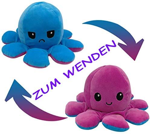 Flyhigh Niedliches Oktopus Plüschtier zum Wenden - Neuster Trend 2021 Reversibles Octupus Spielzeug Kuscheltier (Blau-Lila)