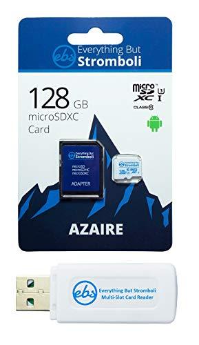 Everything But Stromboli Cartão De Memória Azaire MicroSD De 128 GB Para Samsung Galaxy Tablet Funciona Com Tab A 8.0, Tab A 10.1, Tab S6 Speed 10 U3 UHS-1 Pacote Com Leitor De Cartão Micro SD