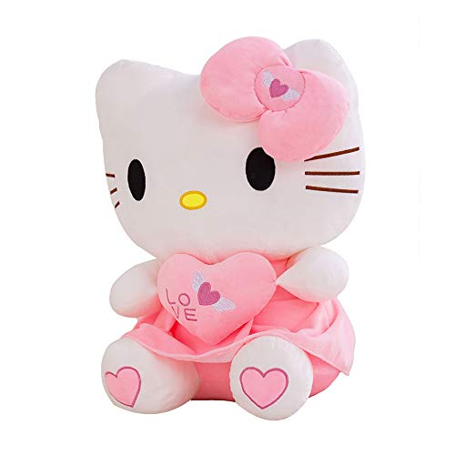 LONG-X Kawaii Gato Hello Kitty Muñeca De Peluche Animales De Peluche Juguetes Cojín con Corazón para Niños Bebé Niños Fiesta Regalo De Cumpleaños,70CM