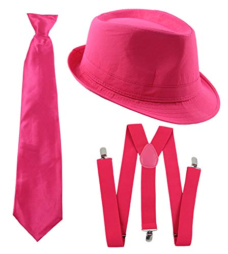 Foxxeo Gangster Kostüm Set für Damen & Herren I Hut - Hosenträger - Krawatte I Pink I 1920er Mafia Accessoire Outfit
