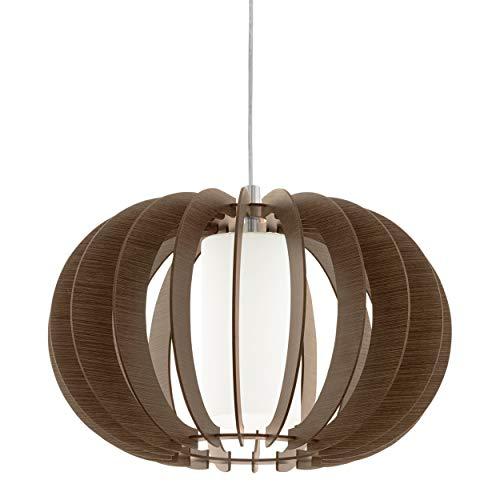 Eglo Stellato 3 - Lámpara de techo colgante vintage, acero, madera y cristal en níquel mate, marrón, blanco, lámpara de mesa de comedor, lámpara colgante con casquillo E27, diámetro de 40 cm