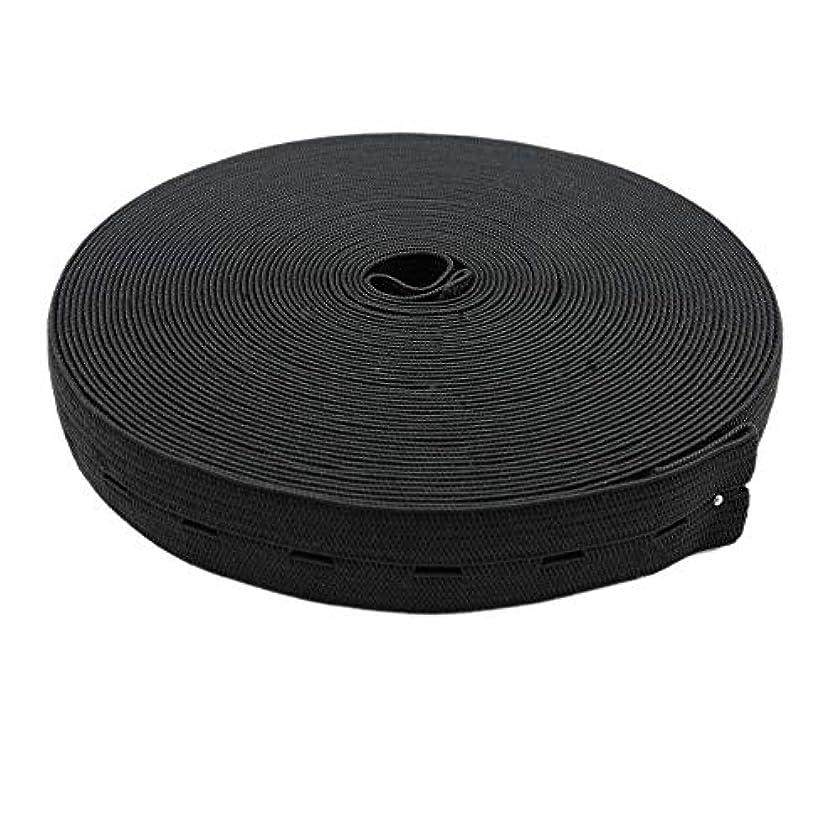 MYUREN 3/4 Inch by 32 Yard Black Buttonhole Elastic Band Heavy Stretch High Elasticity Knit Elastic Band