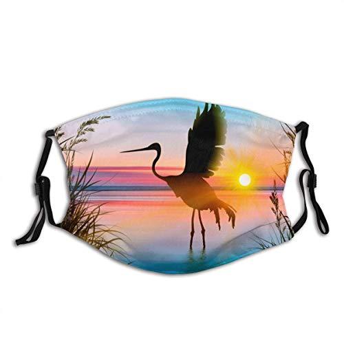 Protector facial protector bucal colorido arte fauna aves atardecer azul lago paisaje pasamontañas bucal bandanas cuello polaina con 2 filtros