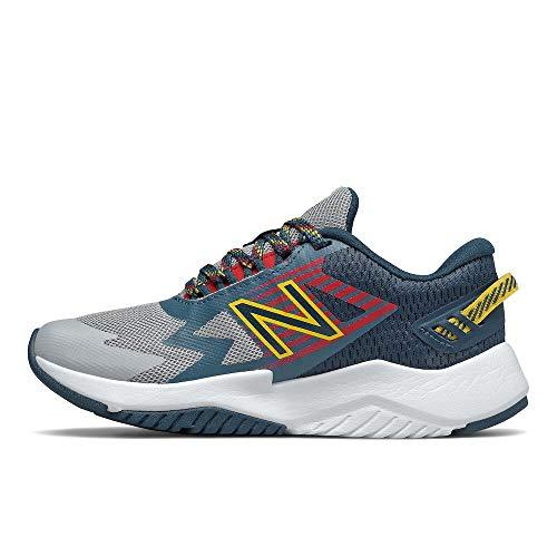 New Balance unisex child Rave V1 Lace-up Running Shoe, Light Aluminum/Rogue Wave/Energy Red, 2 X-Wide Little Kid US