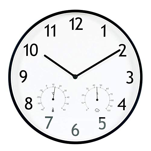 Wall Clock Modern European Wooden with Temperature Hygrometer Quartz Clock Clock Mute Clock 14 inch...