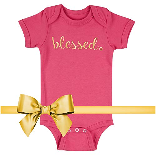 Baptism Christening Gifts for Girls and Boys Blessed Boutique Baby, Pink Onesie, 0-6 Months