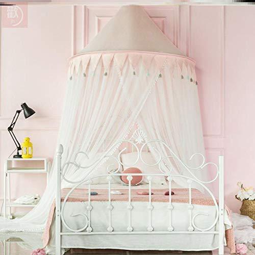 Cama para niños con dosel redondo de algodón de red de cama para niños y niñas, altura de 350 cm