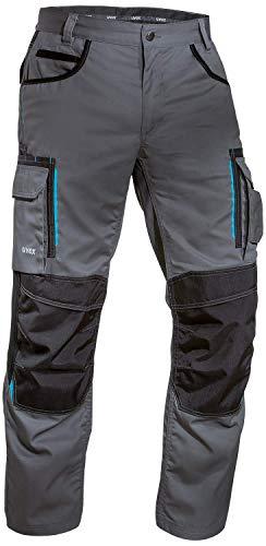 Uvex Tune-up 8909 Pantalones de Trabajo con Cordura Resistente a la Abrasión | con Rodilleras | con Muchos Bolsillos Laterales | de Color Gris y Negro | Tamaño 42