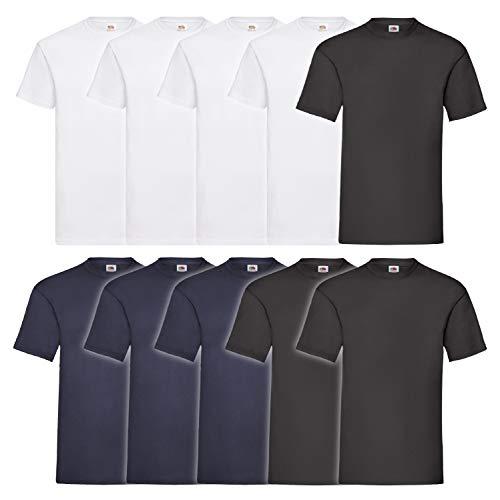 10 Fruit of the loom T Shirts Valueweight T Rundhals S M L XL XXL 3XL 4XL 5XL Übergröße Diverse Farbsets auswählbar (5XL, 4 Weiß / 3 Schwarz / 3 Navy)