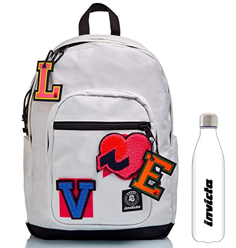 Invicta Backpack - White - JELEK PATCH TIME + White Water Bottle