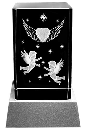Kaltner Präsente Stimmungslicht - Das perfekte Geschenk: LED Kerze/Kristall Glasblock / 3D-Laser-Gravur Motiv Engel Herz Sterne