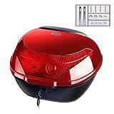 CFYP Baúl de Moto Universal, Maletero Cerradura Superior Estuche Portaobjetos con Respaldo Suave y luz de Advertencia Nocturna (Negro/Rojo/Azul)