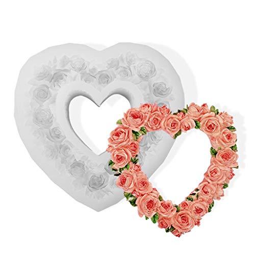 Xiuinserty DIY 3D Herz Rose Form Fondant Form Geprägte Liebe Girlande Form für Hochzeit Valentinstag Geschenk