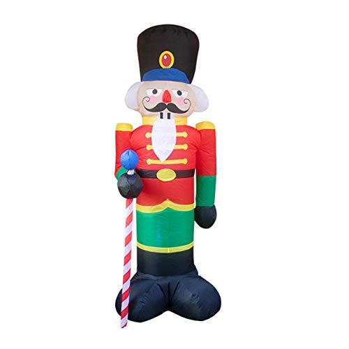Weihnachten aufblasbarer Weihnachtsmann Soldat, aufblasbare Nussknacker Soldat Puppe mit LED-Licht, Weihnachtsdekoration für Indoor Outdoor Yard Garden (Typ A.)