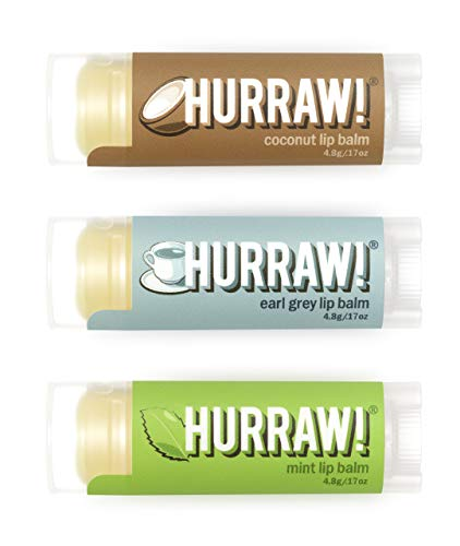 Hurraw! Coconut, Earl Grey, Mint Lip Balms, 3 Pack Bundle: Organic, Certified Vegan, Cruelty and Gluten Free. Non-GMO, 100% Natural Ingredients. Bee, Shea, Soy and Palm Free. Made in USA