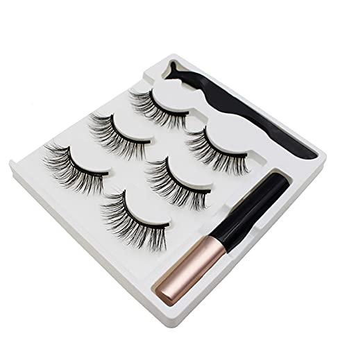 Women's Magnetic Eyelashes 3 Pairs Eyelashes 1 Thick Curling Eyeliner 1Ml Makeup Eyelash Set Combination