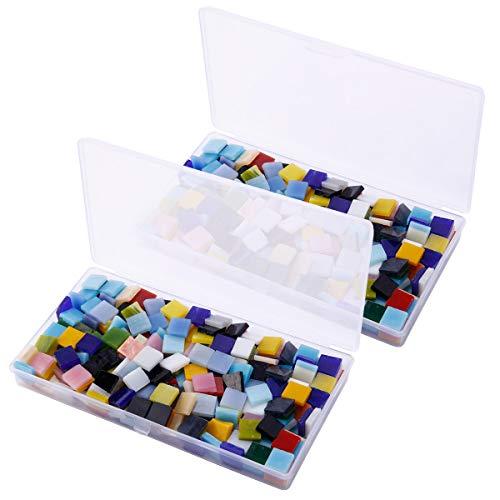 Anladia 800 St. 10mm Mosaiksteine Mosaikfliesen Mosaik Quadrat Bunt gemischt Basteln DIY Deko mit Aufbewahrungsbox