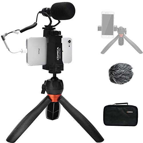 Comica Smartphone Video Microphone Kit, CVM-VM10-K2 PRO Professional External Cardioid Shotgun Mic with Tripod Stand for iPhone 6 7 8 X XS 11 11 Pro Android Camera- Recording Vlogging Tiktok Equipment