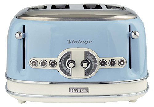 Ariete,156 Toaster im Vintage-Design für 4 Scheiben, 1600 W, 6 Toaststufen, aus lackiertem Edelstahl, Pastellblau