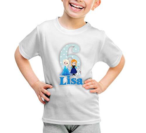 wolga-kreativ T-Shirt Geburtstag Mädchen ich Bin Schon 1 2 3 4 5 6 7 8 9 Jahre mit Namen Eiskönigin Geburtstagsshirt personalisiert Kindergeburtstag Geschenk Kinder