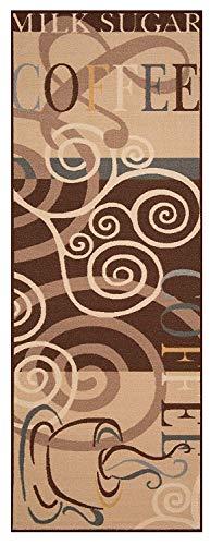 Bavaria-Home-Style-Collection Küchenläufer Läufer Teppich Braun Coffee Break Cappuccino Muster Größe 67x180 cm - modern - Motiv Kaffee - Teppiche - Kitchen Deko - Flur - Esszimmer