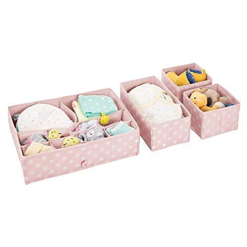 mDesign 4er-Set Aufbewahrungsboxen Kunststoff – Schubladenboxen mit verschiedenen Fächern – Kinderschrank Schubladen Organizer für Kleidung, Kosmetik, Windeln, Tücher, Lotion etc. – rosa/weiß