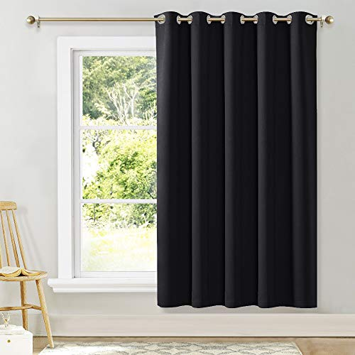 NICETOWN Wide Drapes for Sliding Glass Door,Window Treatments for Patio Doors,Grommet Thermal Insulated Blackout Curtains (1 Piece,Black,70 by 72-inch)
