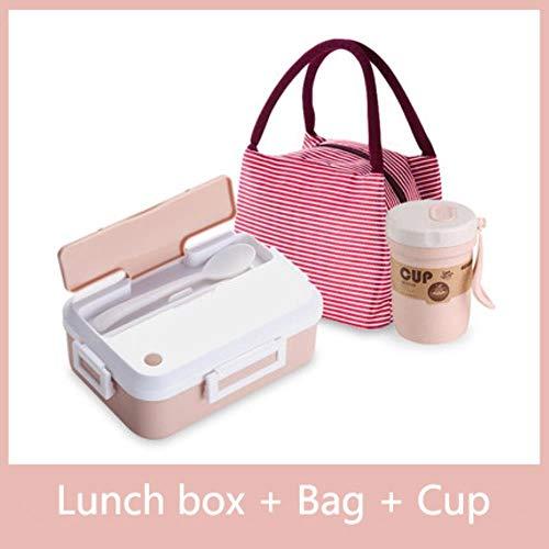 Heng magnetron lunchbox met servies beker lekvrij draagbare voedselcontainer kantoor school wandelen camping kinderen bento box, roze driedelig