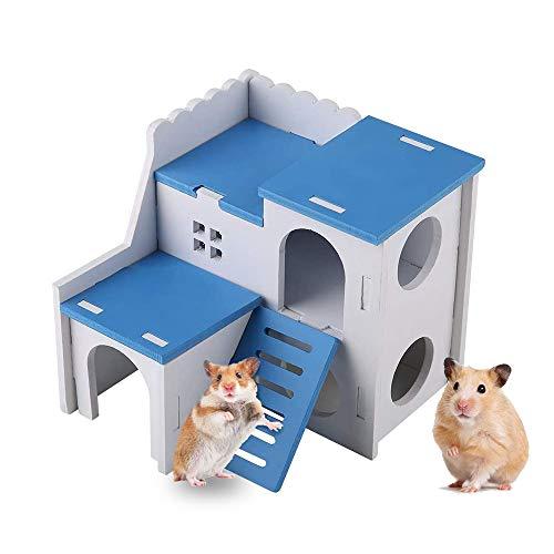 Wishloto, casetta per criceti in legno, piccola casa per criceti con divertente scaletta da arrampicata, giocattolo a due strati per criceti nani, cincillà, ratti, gerbilli, topi