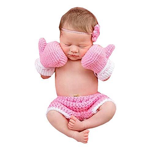 Baby Boxhandschuh Set Handarbeit Häkeln Gestrickte Neugeborene Fotografie Prop Hosen Outfits (Color : Pink, Size : 0-3M)