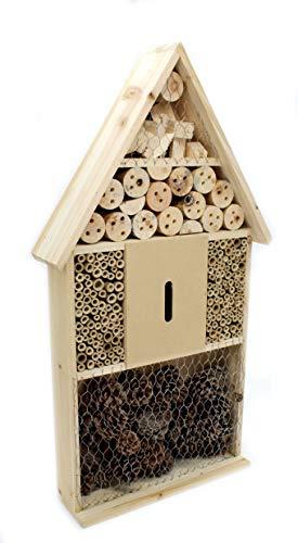 DARO DEKO Insektenhotel aus Holz braun Natur 66cm hoch 4 Ebenen