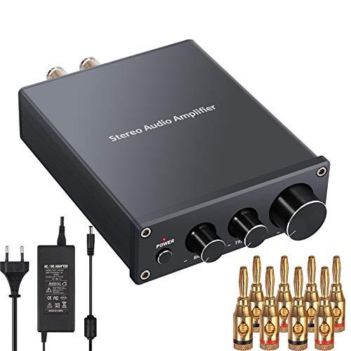 Oferta de Amplificador Audio Estéreo 2 Canales Mini Hi-Fi Amplificador de Potencia Amp Digital Integrado Clase D con Control de Bajos y Agudos para Altavoces Pasivos 50W + 50W