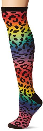 K. Bell Socks Calcetines hasta la rodilla para mujer, Rodillera de leopardo degradado (negro), Shoe Size: 4-10