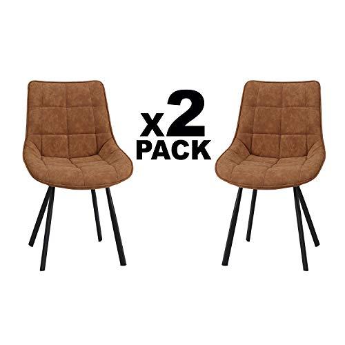 Adec - Curve, Pack 2 Sillas de Comedor, Salon o Cocina, Acabado en Simil Piel Camel Cuir y Patas Metalicas Negro, Medidas: 50 cm (Ancho) x 63 cm (Fondo) x 87 cm (Alto)