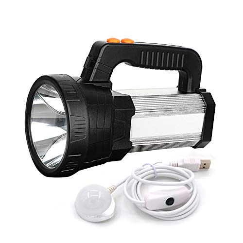 BIGSUN Super Bright Rechargeable Flashlight Handheld LED Spotlight, High Lumen Waterproof Searchlight, Outdoor Camping Accessories, Emergency Flashlights with USB Output Function