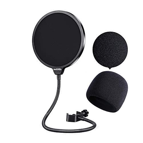 Mikrofon Pop Filter Set Schild für Blue Yeti, MXL, Audio Technica und andere Mikrofone, Mikrofon Popschutz mit 360 ° Schwanenhals- und Mikrofonabdeckung Schaum-Windschutz, 2 in 1 Packung