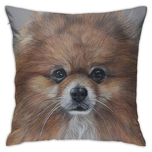 Funda de almohada decorativa para perro Pomeranian en pastel, cómoda funda de cojín cuadrada para sofá, dormitorio, silla de coche, funda de almohada de 45,7 x 45,7 cm