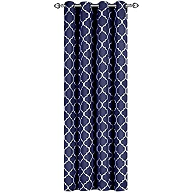 Utopia Bedding Printed Blackout Room Darkening Color Block Grommet Curtain Panel - 52 Inches Wide by 84 Inches Long - Decorative Curtains - Printed Navy