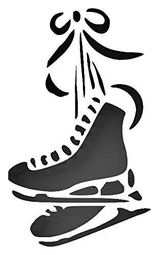 Ice Skates Reusable Sturdy Stencil Clear Custom Cut Plastic Sheet Template Cutout Sign DIY Supplies for Airbrush Painting Drawing 1-5x8 inch